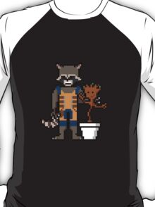 8Bit Rocket and Groot T-Shirt
