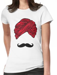 Turban Mustache  Womens Fitted T-Shirt