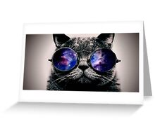 Galaxy on Cat's Glasses Greeting Card