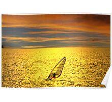 Sailboarding at sunset Poster
