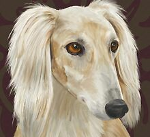 Gorgeous Light Fur Saluki Dog on Brown Background by ibadishi