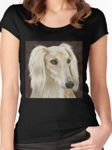 Gorgeous Light Fur Saluki Dog on Brown Background Women's Fitted Scoop T-Shirt