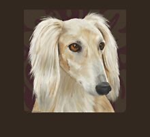 Gorgeous Light Fur Saluki Dog on Brown Background Unisex T-Shirt