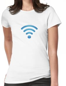 Wi-Fi Signal Blue Womens Fitted T-Shirt