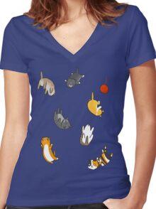 Kitten Rain Women's Fitted V-Neck T-Shirt