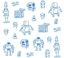 Blue robots by Lerika