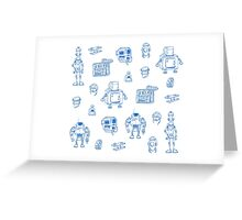 Blue robots Greeting Card