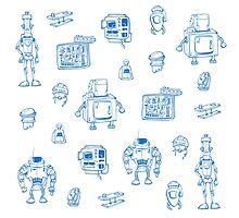 Blue robots Photographic Print