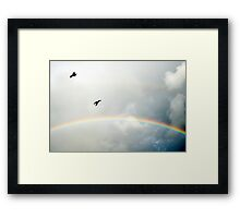 crows flying in the storm winds Framed Print