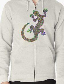 Psychedelic Lizard Gecko  Zipped Hoodie