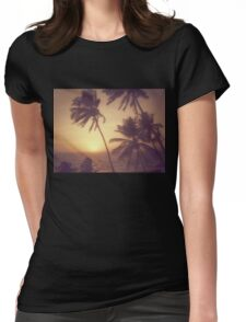 Sand, Beach, Sunset Womens Fitted T-Shirt