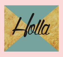 """Holla"" Gold Leaf Golden Teal Green Blue Font Typography Funny Silly Humor Modern Clean Lines Geometric Triangles One Piece - Short Sleeve"
