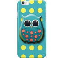 Green and Blue Owl on Yellow Polka Dots  iPhone Case/Skin