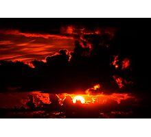 dark moody red sunset sky Photographic Print