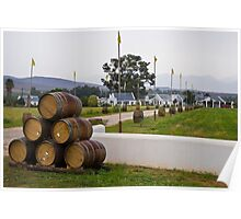 Wine Barrels and Vineyard Farmhouse Poster