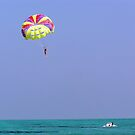 Para-sailing over the green water of the Arabian Sea in the Lakshadweep Islands by ashishagarwal74