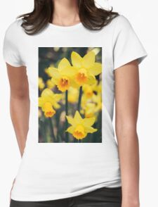 Yellow Daffodil Flowers Womens Fitted T-Shirt