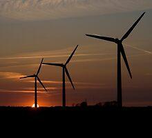 Windmills at sunset. by imagic