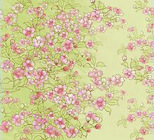 Watercolor Cherry Blossoms on Green Wash by LSWalthery