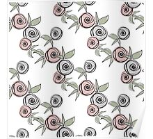 Seamless floral pattern with roses background Poster