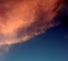 moon and pink cloud and blue twighlight sky by Lesley Ortiz