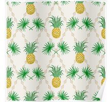 Exotic tropical seamless pattern palm branches and pineapples Poster