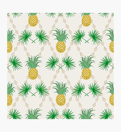Exotic tropical seamless pattern palm branches and pineapples Photographic Print