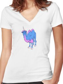 Camelcorn Women's Fitted V-Neck T-Shirt