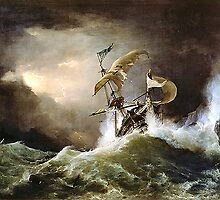 A First rate Man-of-War driven onto a reef of rocks, floundering in a gale  by George Philip Reinagle, ca. 1826 by troycap