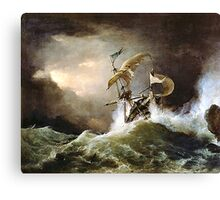 A First rate Man-of-War driven onto a reef of rocks, floundering in a gale  by George Philip Reinagle, ca. 1826 Canvas Print