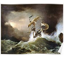 A First rate Man-of-War driven onto a reef of rocks, floundering in a gale  by George Philip Reinagle, ca. 1826 Poster