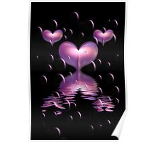 Purple Hearts and Bubbles Poster