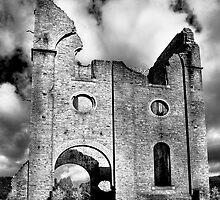 Remains of the Ferranti Blast Furnace - B&W version by Rosalie Dale