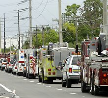Firefighter funeral procession by Larry  Grayam