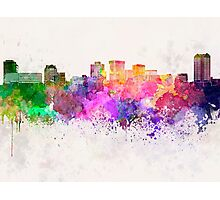 Norfolk skyline in watercolor background Photographic Print