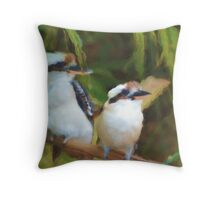 Two Kookaburras on a branch Throw Pillow