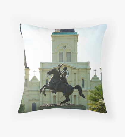 Andrew Jackson and the St Louis Cathedral Throw Pillow