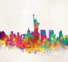 New York Watercolor Skyline by InkistPrints