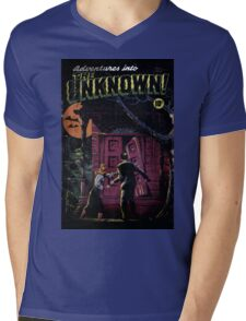 INTO THE UNKNOWN - SCARY RETRO POP ART Mens V-Neck T-Shirt