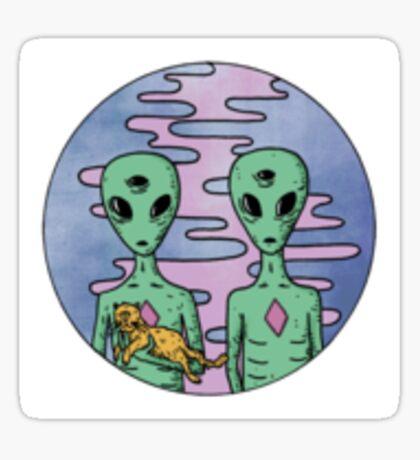Tumblr aliens and cat Sticker