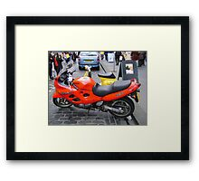 orange motorbike Framed Print