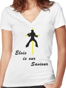 Elvis is our Saviour Women's Fitted V-Neck T-Shirt