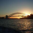 Setting sun over the Sydney Harbour Bridge by lettie1957