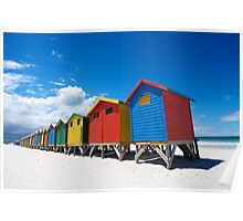 Bright Coloured bathing boxes Poster