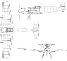 Three-view drawing of the Bf 109E-3 with the early style of cockpit canopy. by Adam Asar