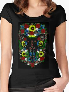 Goat's skull in Flowers Women's Fitted Scoop T-Shirt