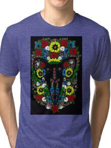 Goat's skull in Flowers Tri-blend T-Shirt