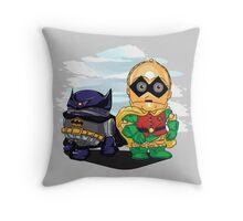 Bat-D2 and Rob-3PO Throw Pillow