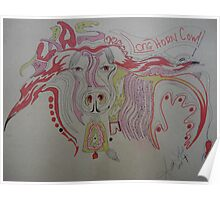 LongHorn TEXAS cow doodle do From the Great North Carolina state! Poster