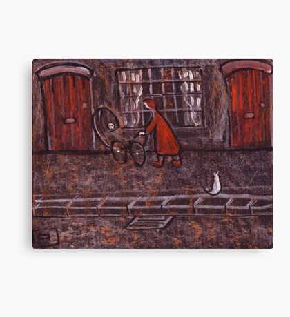 Woman Pushing a Pram Canvas Print